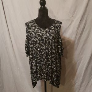 Black and White Paisley Cold shoulder Top